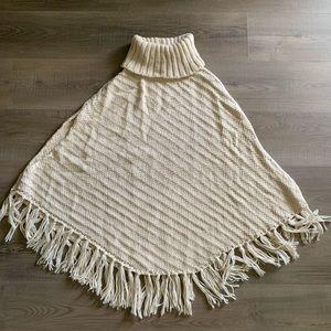 Cable knit turtleneck poncho sweater cape M/L CUTE